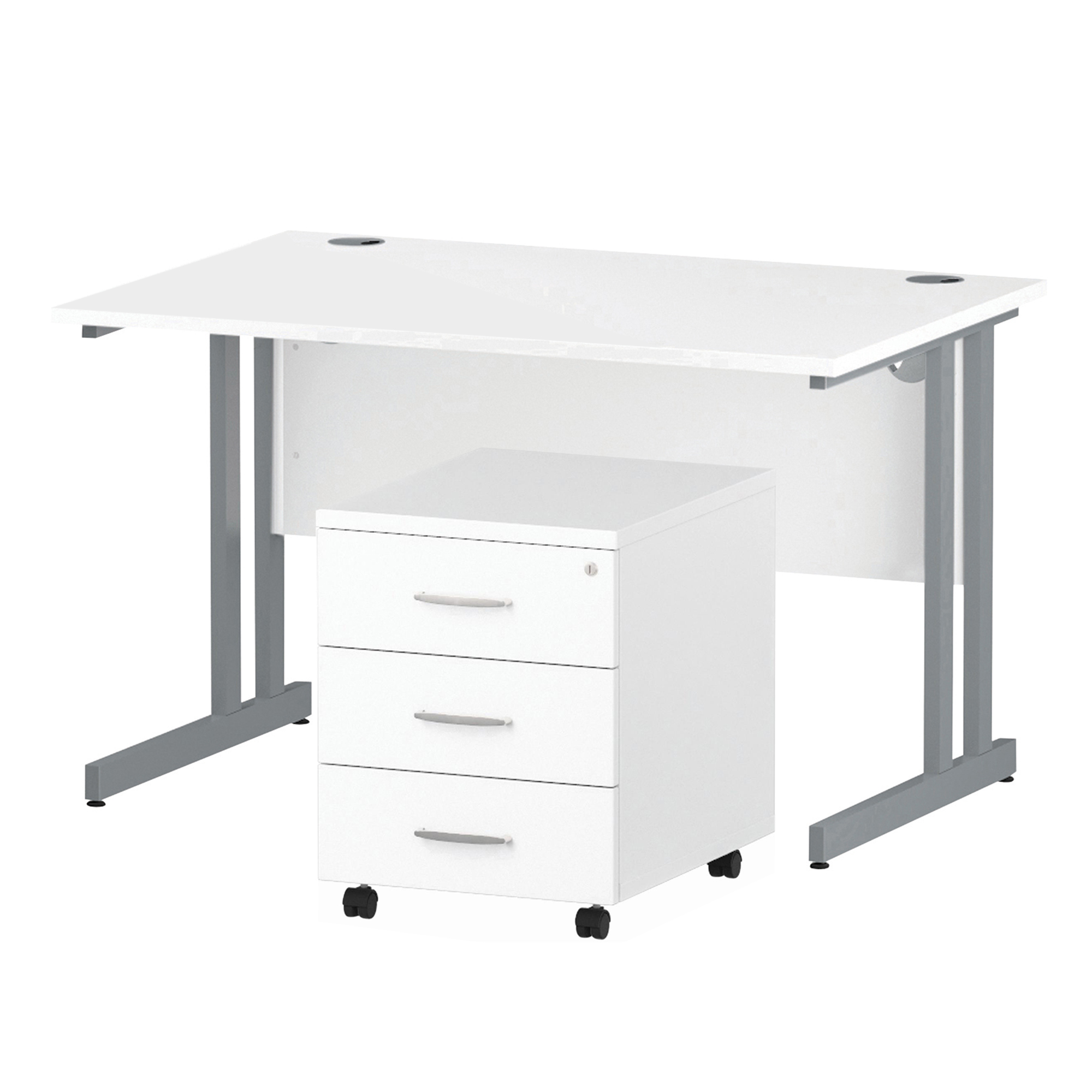 Desks Trexus Cantilever Desk 1200x800 & 3 Drawer Pedestal White Bundle Offer Feb-Apr 2020