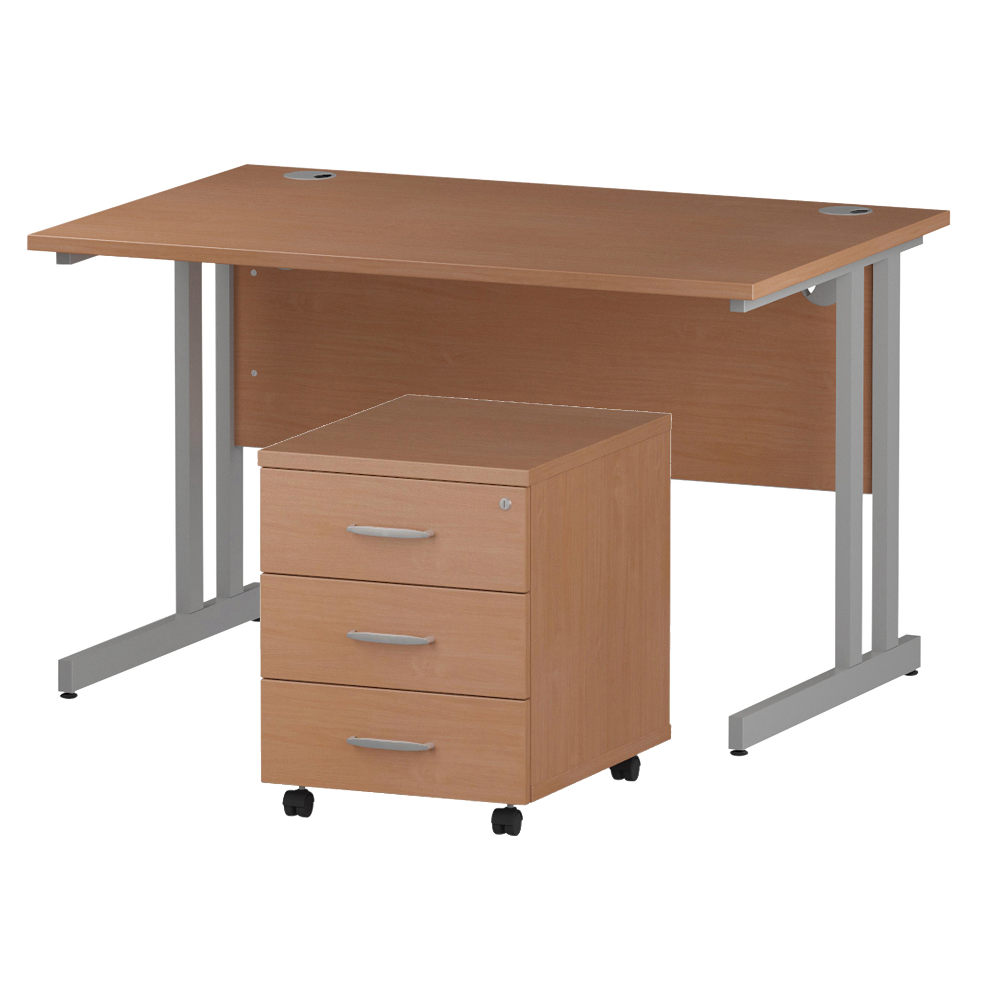 Desks Trexus Cantilever Desk 1200x800 & 3 Drawer Pedestal Beech Bundle Offer Feb-Apr 2020
