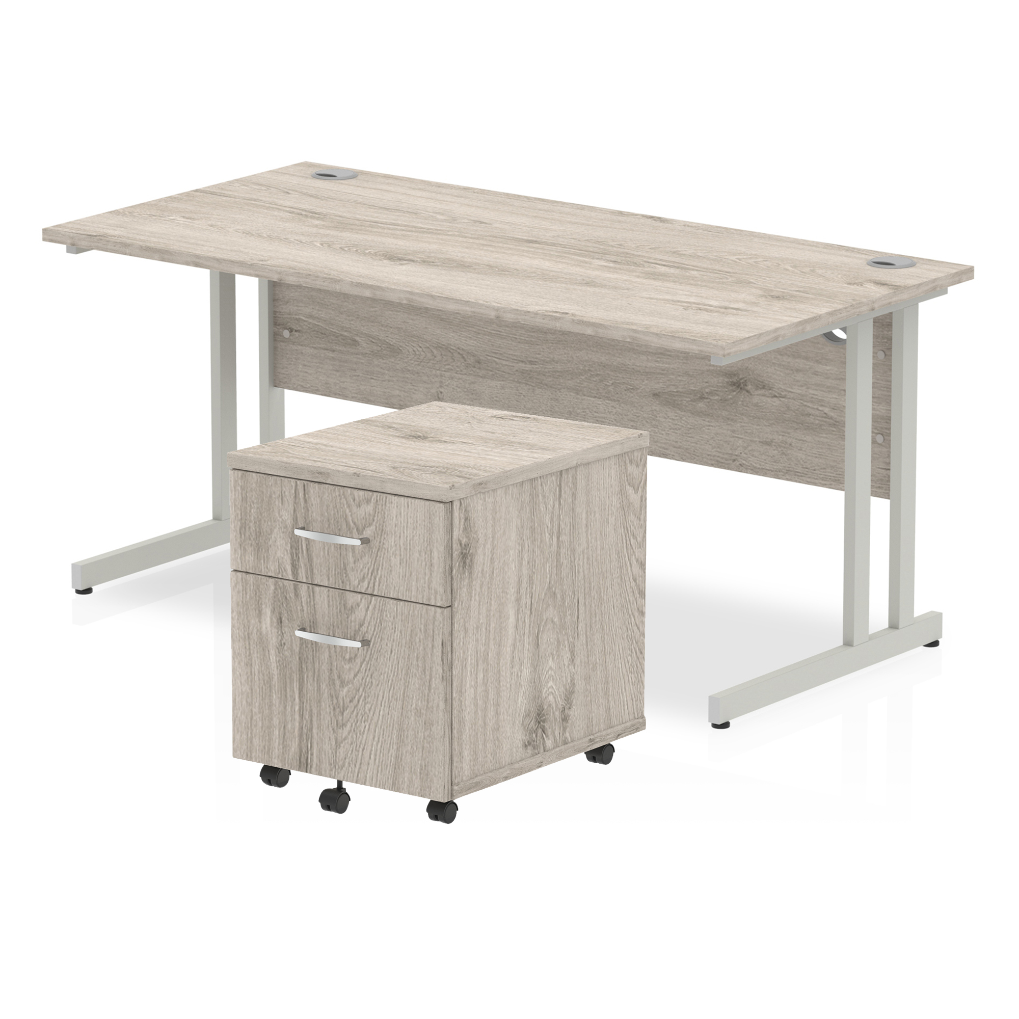 Desks Trexus Cantilever Desk 1600x800 & 2 Drawer Pedestal Grey Oak Bundle Offer Feb-Apr 2020
