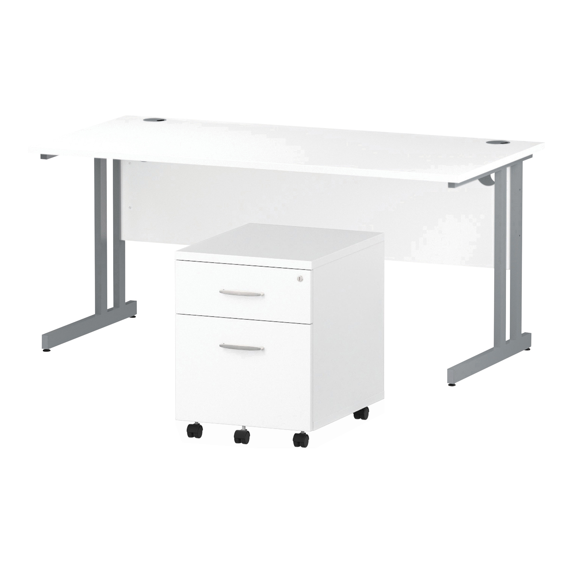 Desks Trexus Cantilever Desk 1600x800 & 2 Drawer Pedestal White Bundle Offer Feb-Apr 2020
