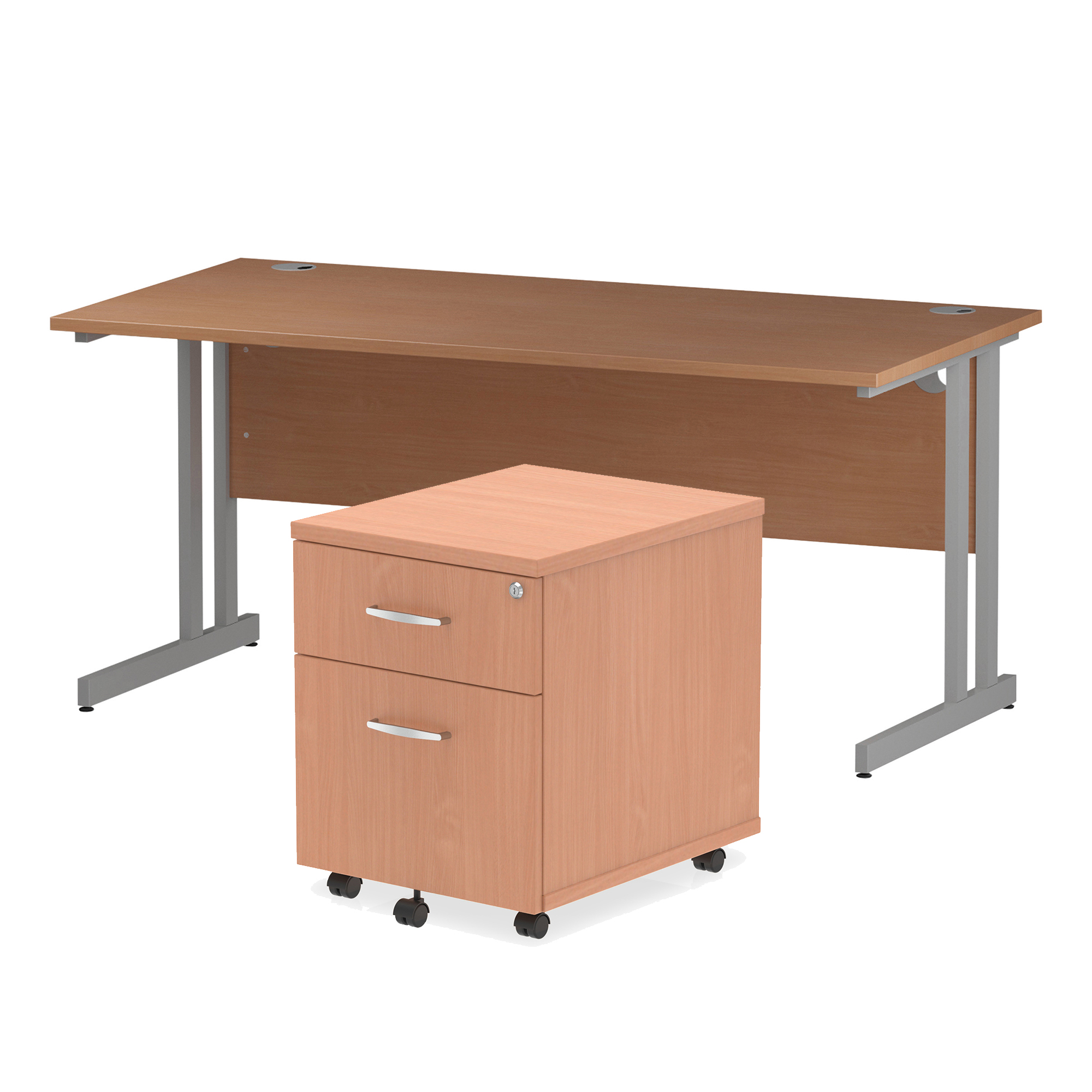 Desks Trexus Cantilever Desk 1600x800 & 2 Drawer Pedestal Beech Bundle Offer Feb-Apr 2020