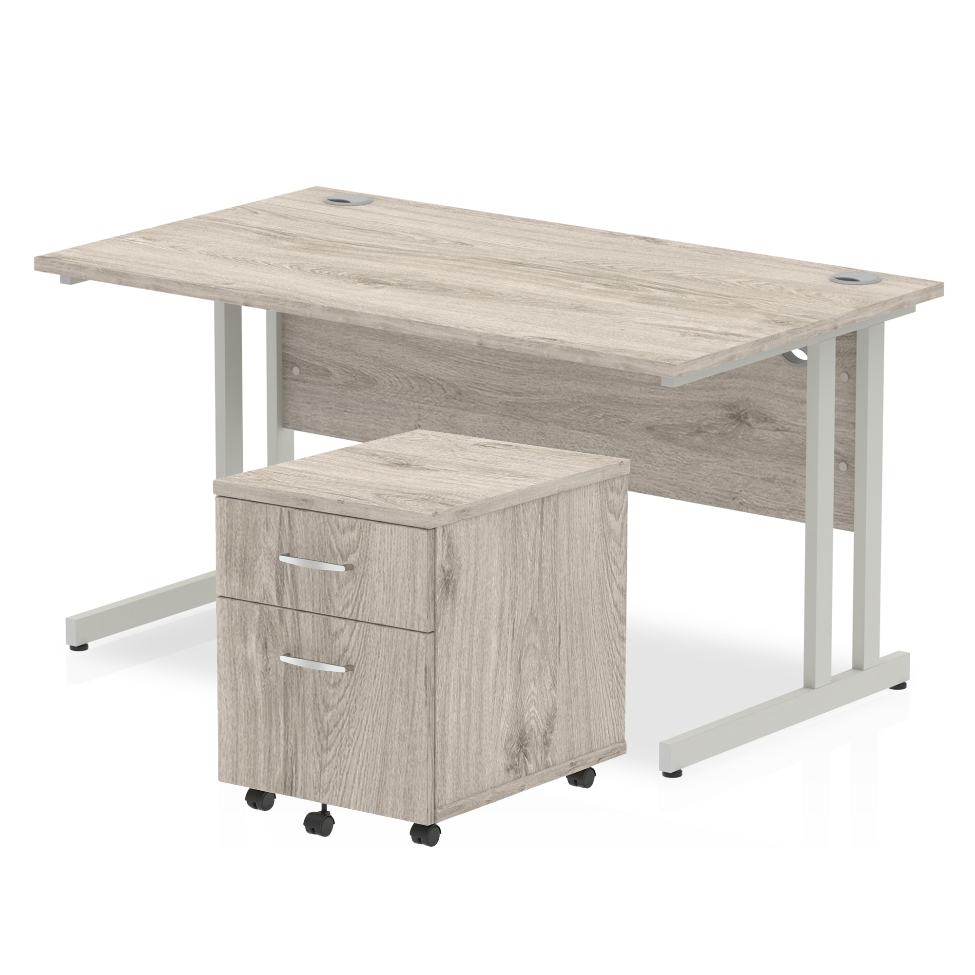 Desks Trexus Cantilever Desk 1400x800 & 2 Drawer Pedestal Grey Oak Bundle Offer Feb-Apr 2020