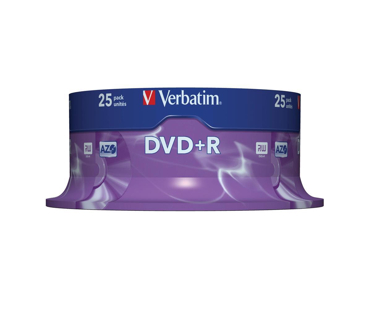 Image for Verbatim DVD+R Spindle Ref 43500-1 [Pack 25]