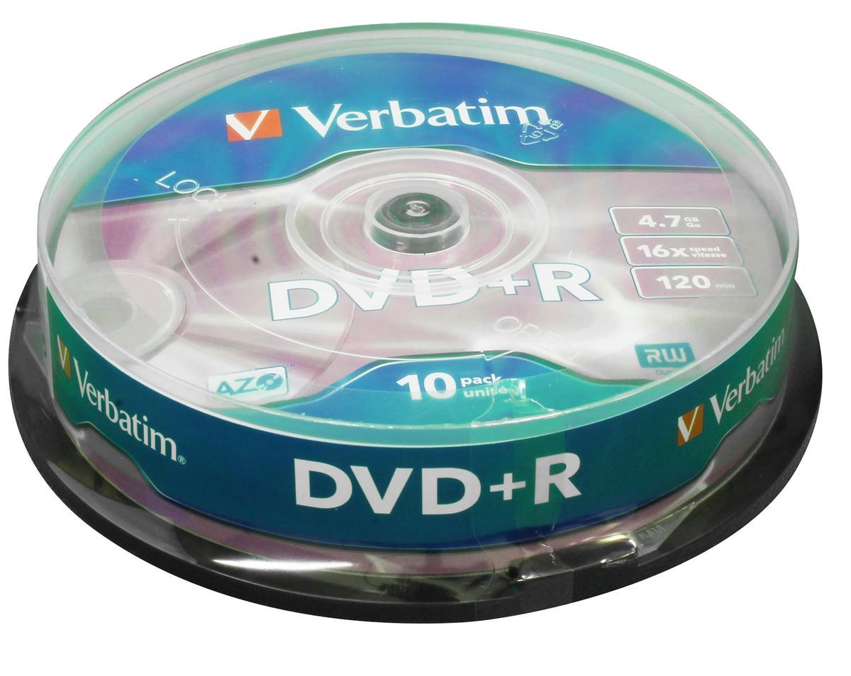 Image for Verbatim DVD+R Spindle Ref 43498 [Pack 10]