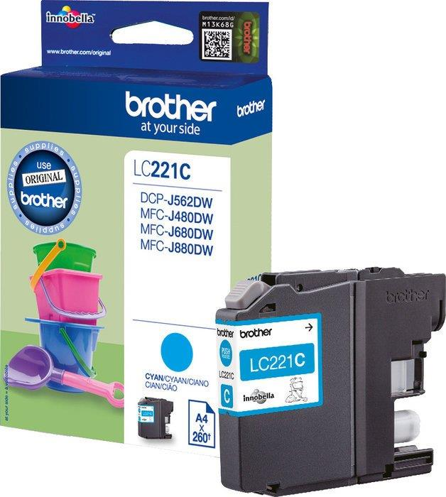 Brother LC221C Inkjet Cartridge Page Life 260pp Cyan Ref LC221C