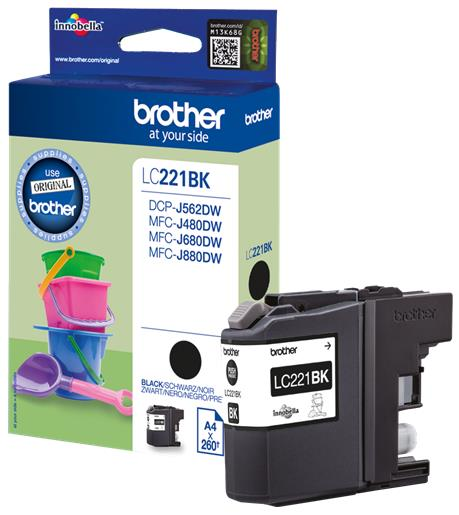 Brother LC221BK Inkjet Cartridge Page Life 260pp Black Ref LC221BK