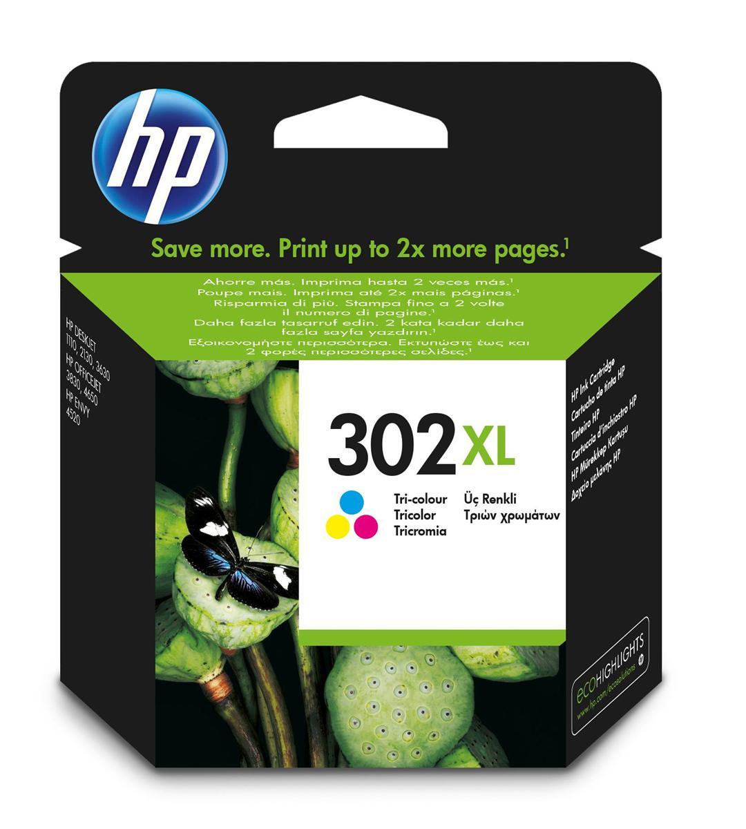 Hewlett Packard [HP] No.302XL Ink Cartridge High Yield 8ml Page Life 330pp Tri-Colour Ref F6U67AE