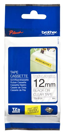 Image for Brother PTouch TZe-S131 12mmx8m BlackOnClear Strong Adhe Lam Lab Tape Ref TZES131 3 to 5 Day Leadtime