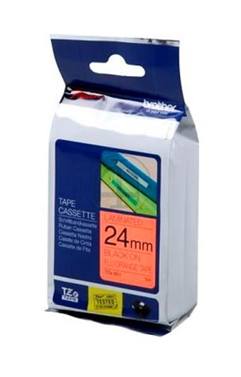 Image for Brother PTouch TZe-B51 24mmx8m BlackOnFluorescent Orange Lam Lab Tape Ref TZEB51 3 to 5 Day Leadtime