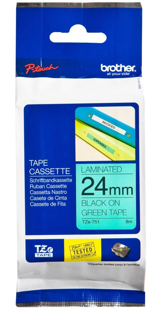 Image for Brother P-Touch TZe-751 24mmx8m BlackOnGreen Laminated Labelling Tape Ref TZE751 3 to 5 Day Leadtime