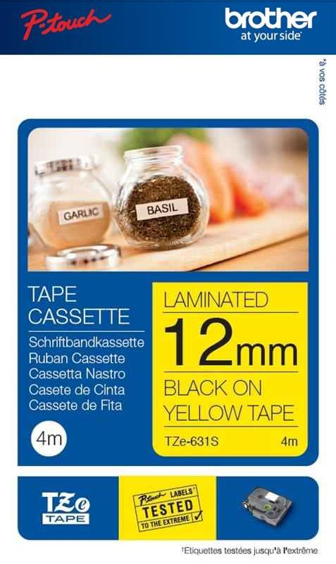Image for Brother P-Touch TZe-631S 12mmx4m Black On Yellow Labelling Tape Ref TZE631S 3 to 5 Day Leadtime