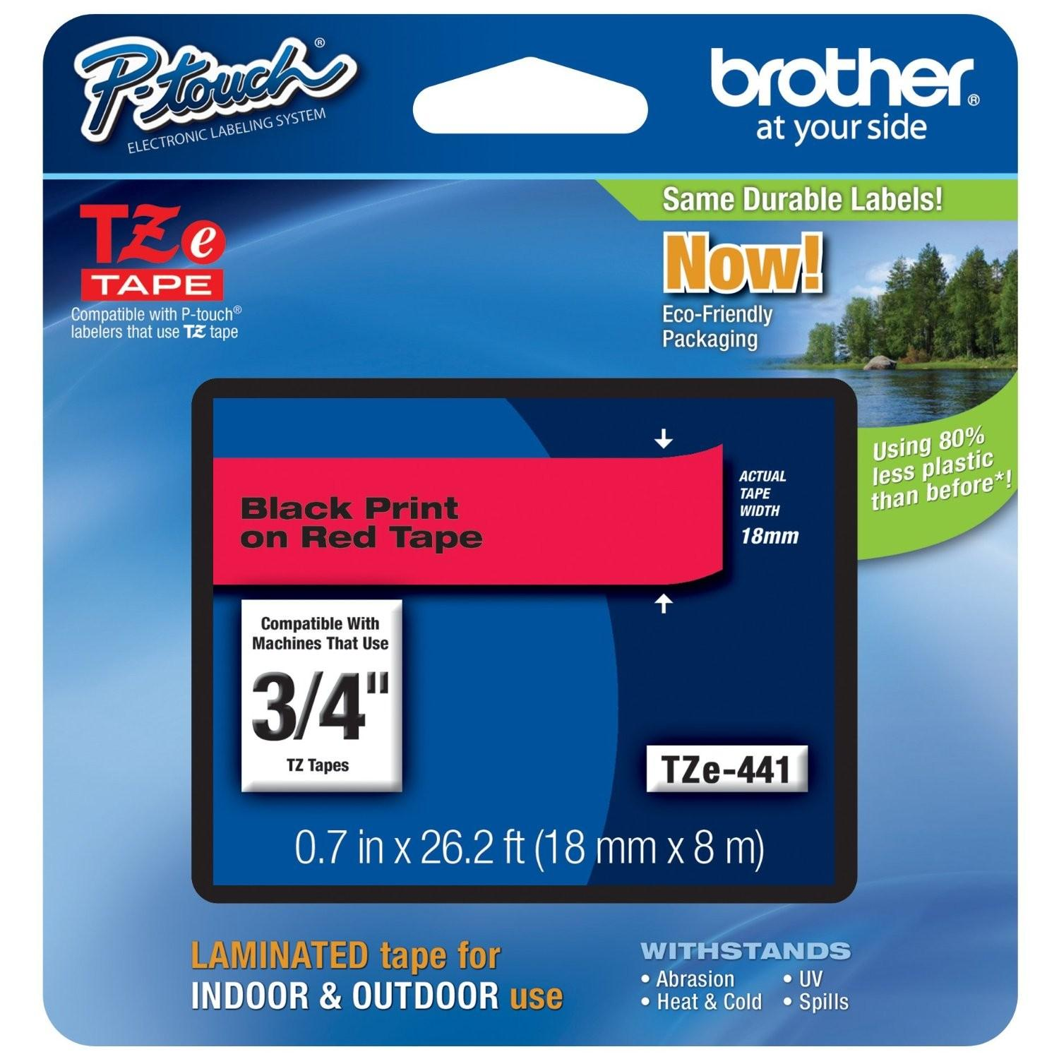 Image for Brother P-Touch TZe-441 18mmx8m Black On Red Laminated Labelling Tape Ref TZE441 3 to 5 Day Leadtime