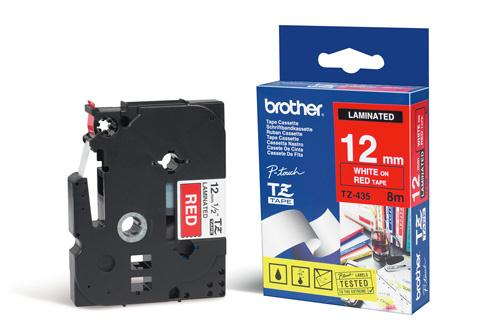 Image for Brother P-Touch TZe-435 12mmx8m White On Red Laminated Labelling Tape Ref TZE435 3 to 5 Day Leadtime