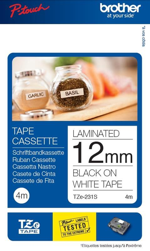 Image for Brother P-Touch TZe-231S 12mmx4m Black On White Labelling Tape Ref TZE231S2