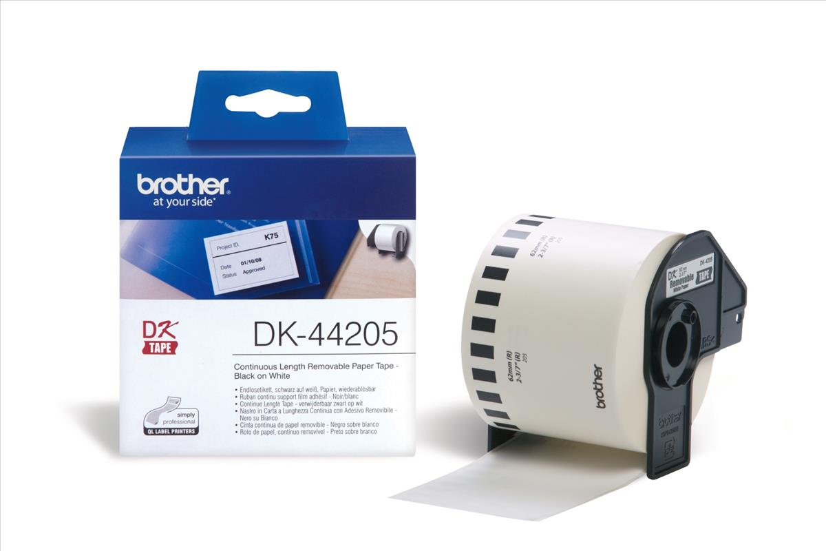 Image for Brother PTouch DK-44205 62mmx30.48m Continuous Remov White Paper Tape Ref DK44205 3 to 5 Day Leadtime