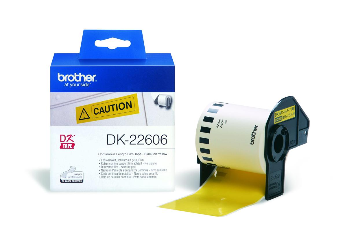 Image for Brother P-Touch DK-22606 62mmx15.2m Continuous Yellow Film Tape Ref DK22606 3 to 5 Day Leadtime