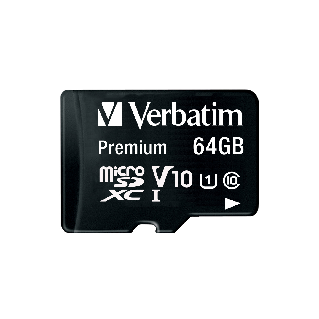 Verbatim Micro SDXC Card Including Adapter 64GB Black Ref 44084