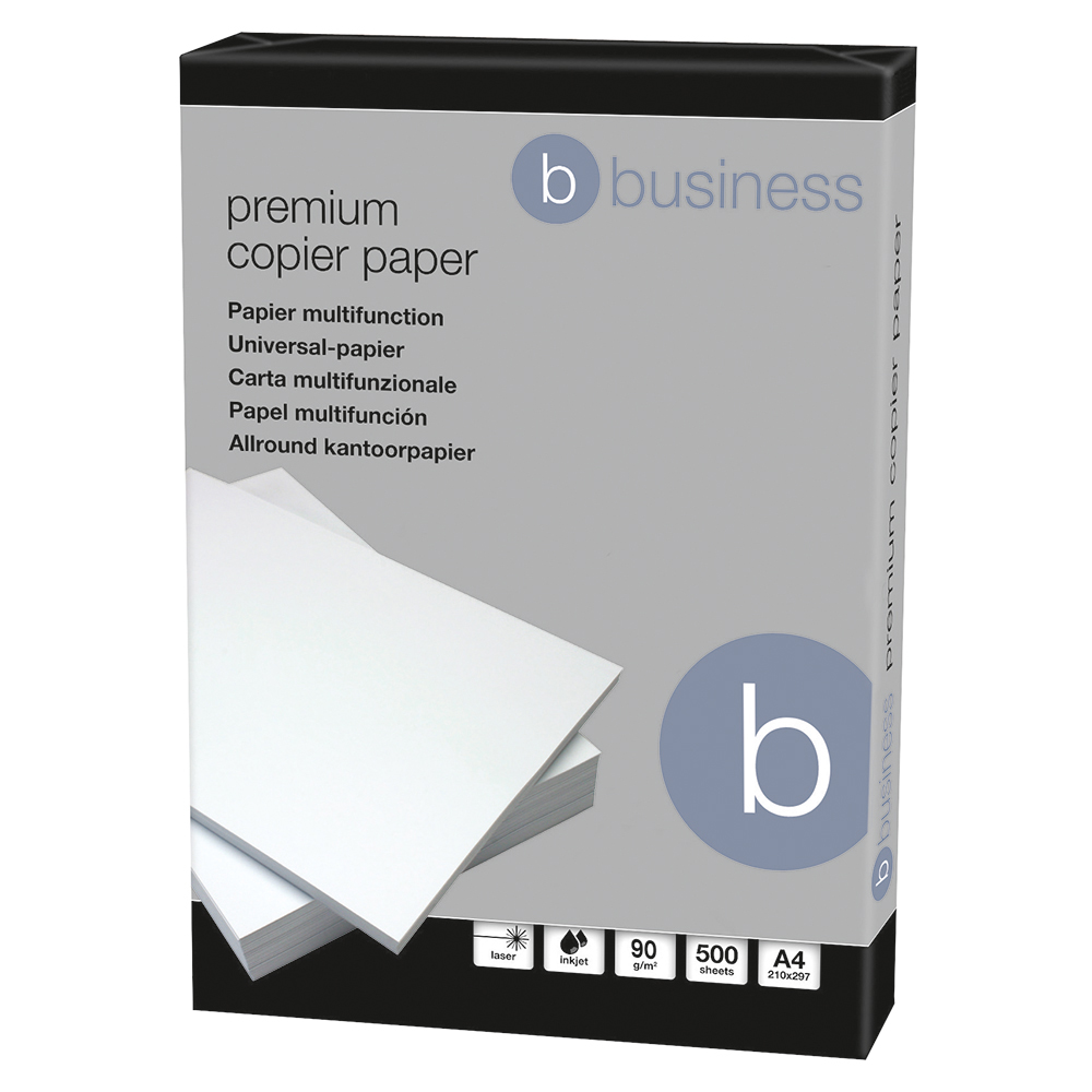 Business Premium Copier Paper Smooth Ream-Wrapped 90gsm A4 High White [5 x 500 Sheets]