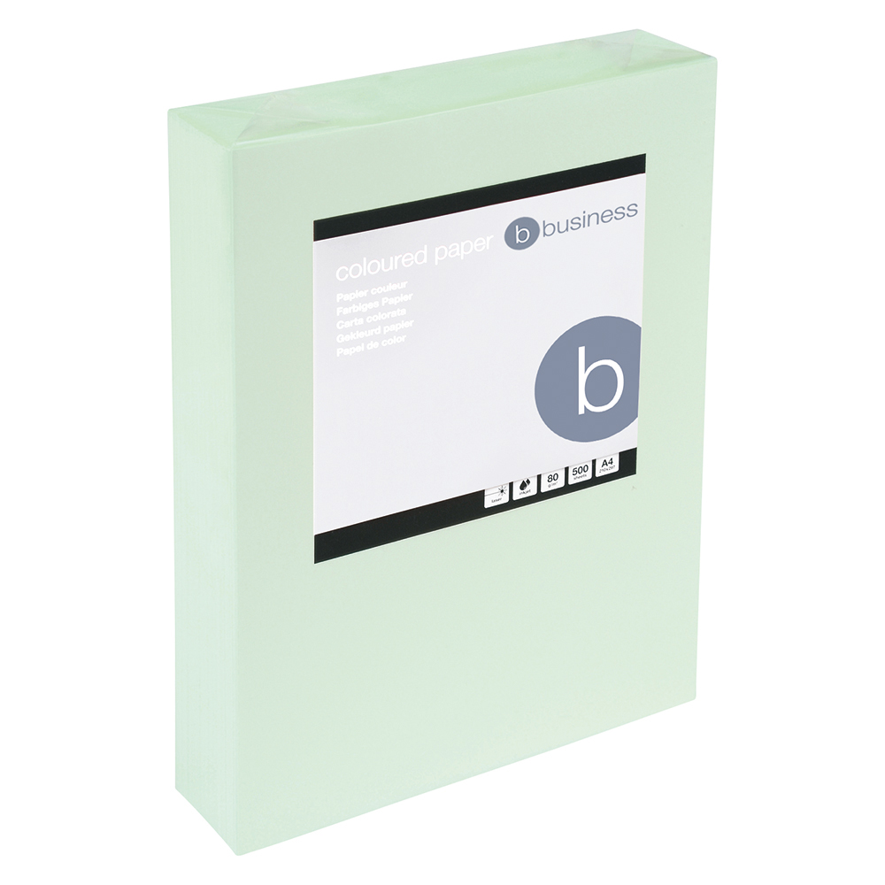 Business Coloured Copier Paper Multifunctional Ream-Wrapped 80gsm A4 Light Green [500 Sheets]