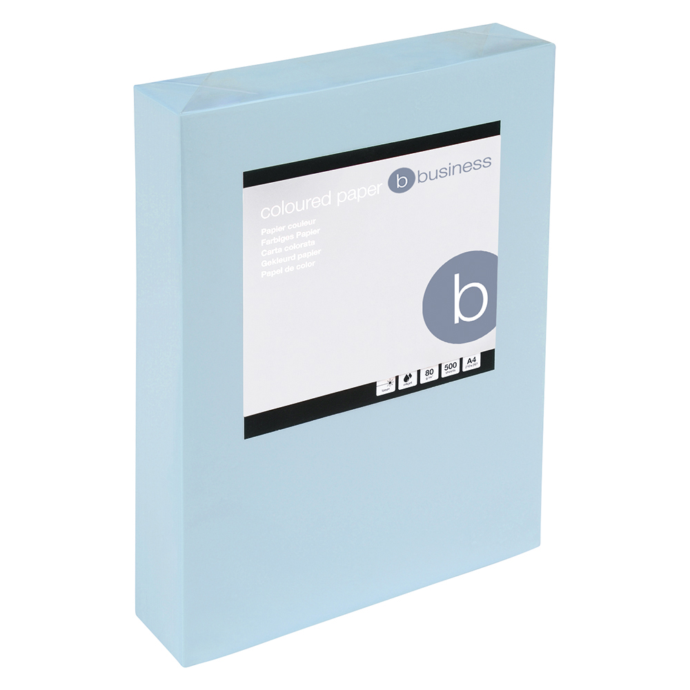 Business Coloured Copier Paper Multifunctional Ream-Wrapped 80gsm A4 Light Blue [500 Sheets]