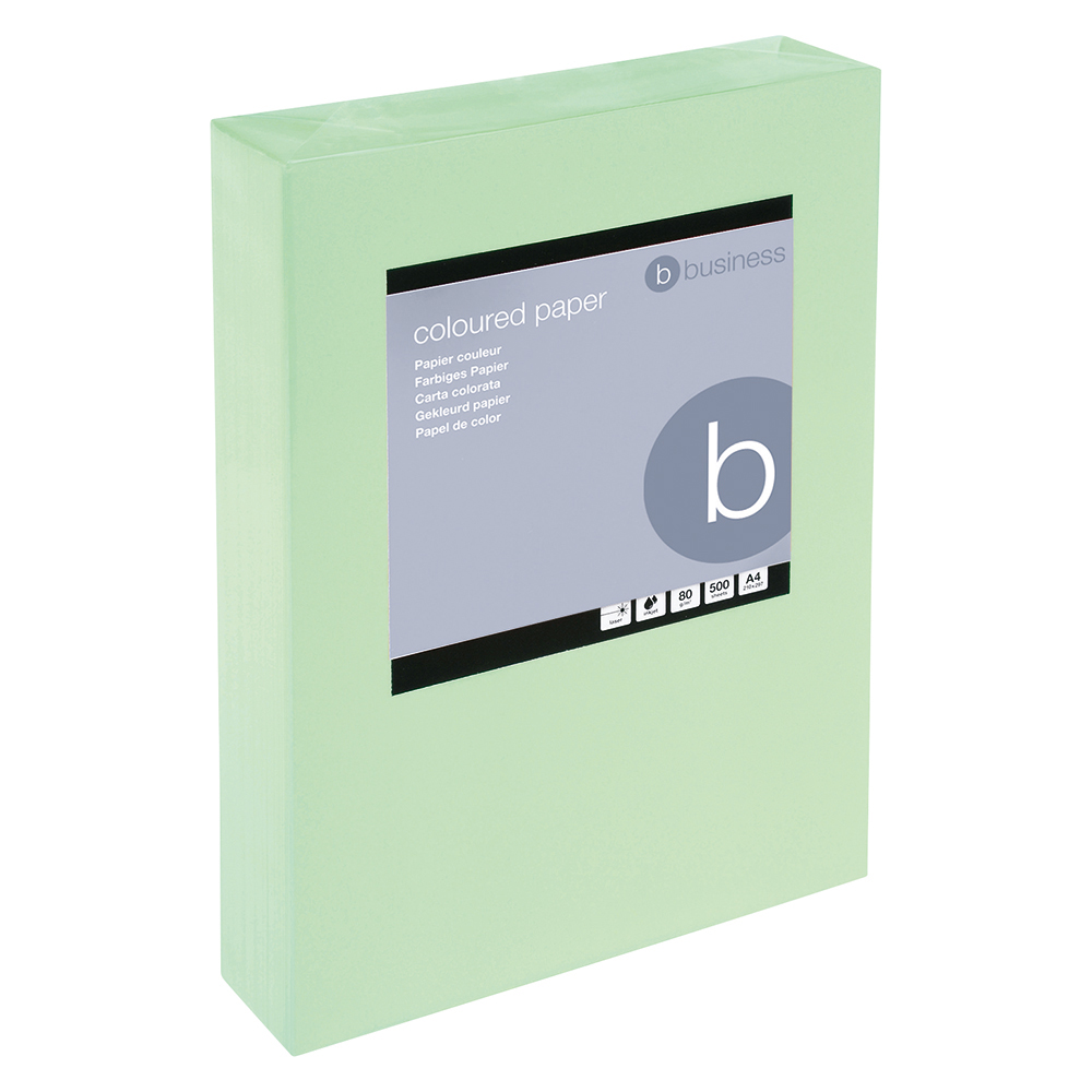 Business Coloured Copier Paper Multifunctional Ream-Wrapped 80gsm A4 Medium Green [500 Sheets]
