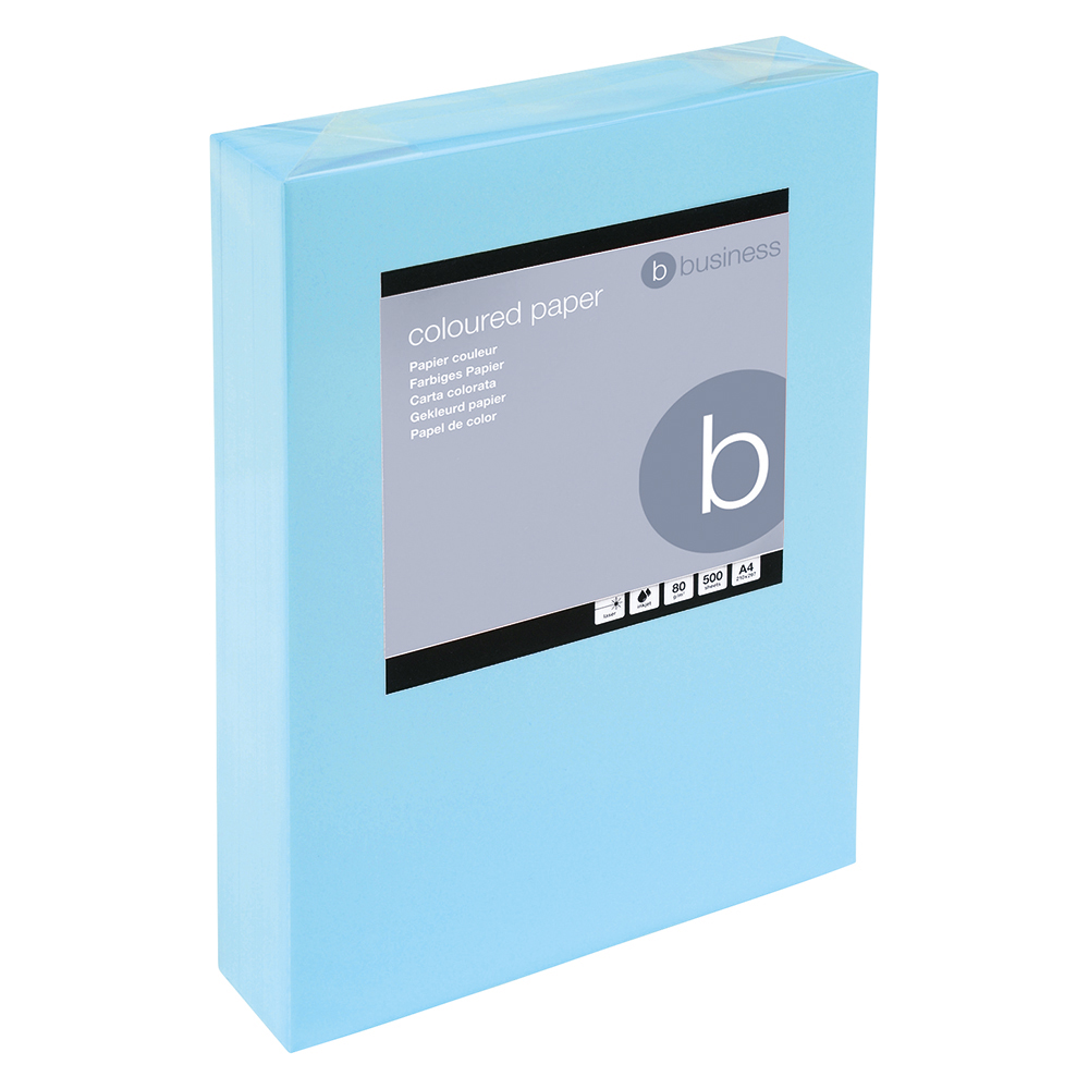 Business Coloured Copier Paper Multifunctional Ream-Wrapped 80gsm A4 Medium Blue [500 Sheets]