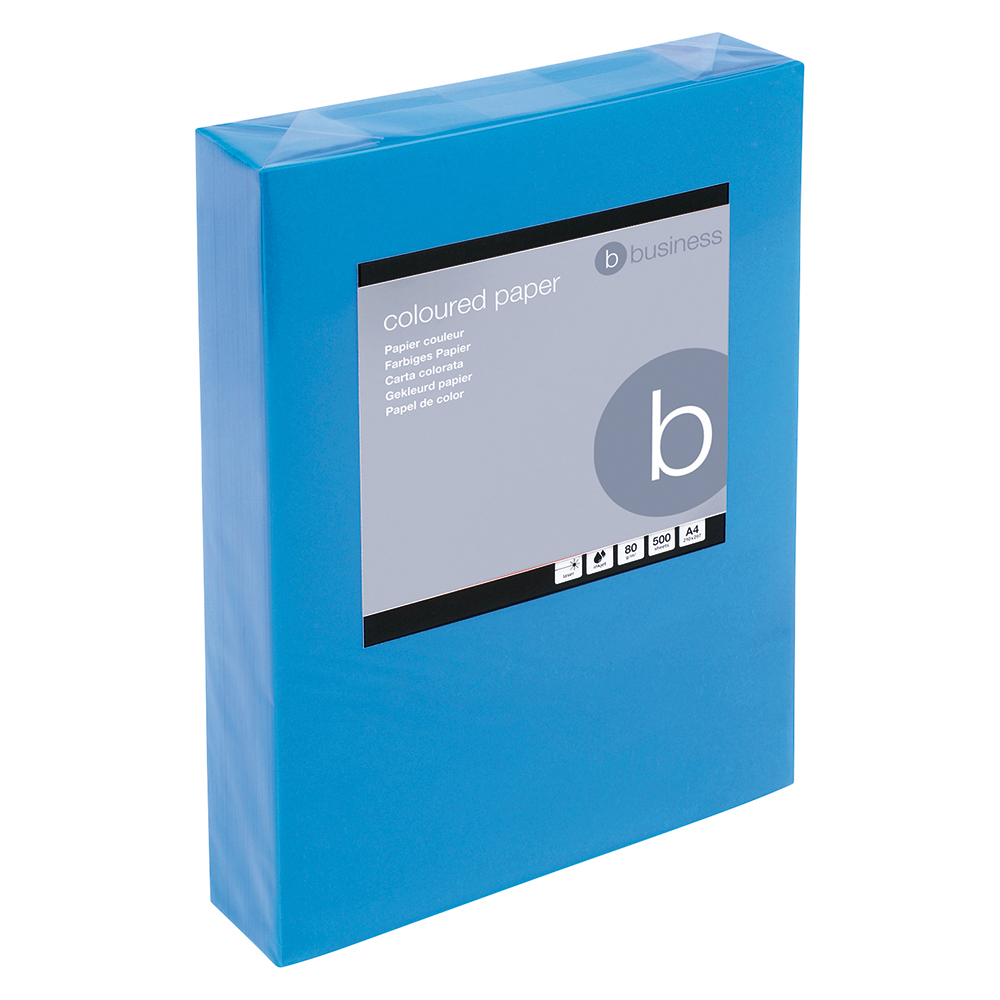 Business Coloured Copier Paper Multifunctional Ream-Wrapped 80gsm A4 Deep Blue [500 Sheets]