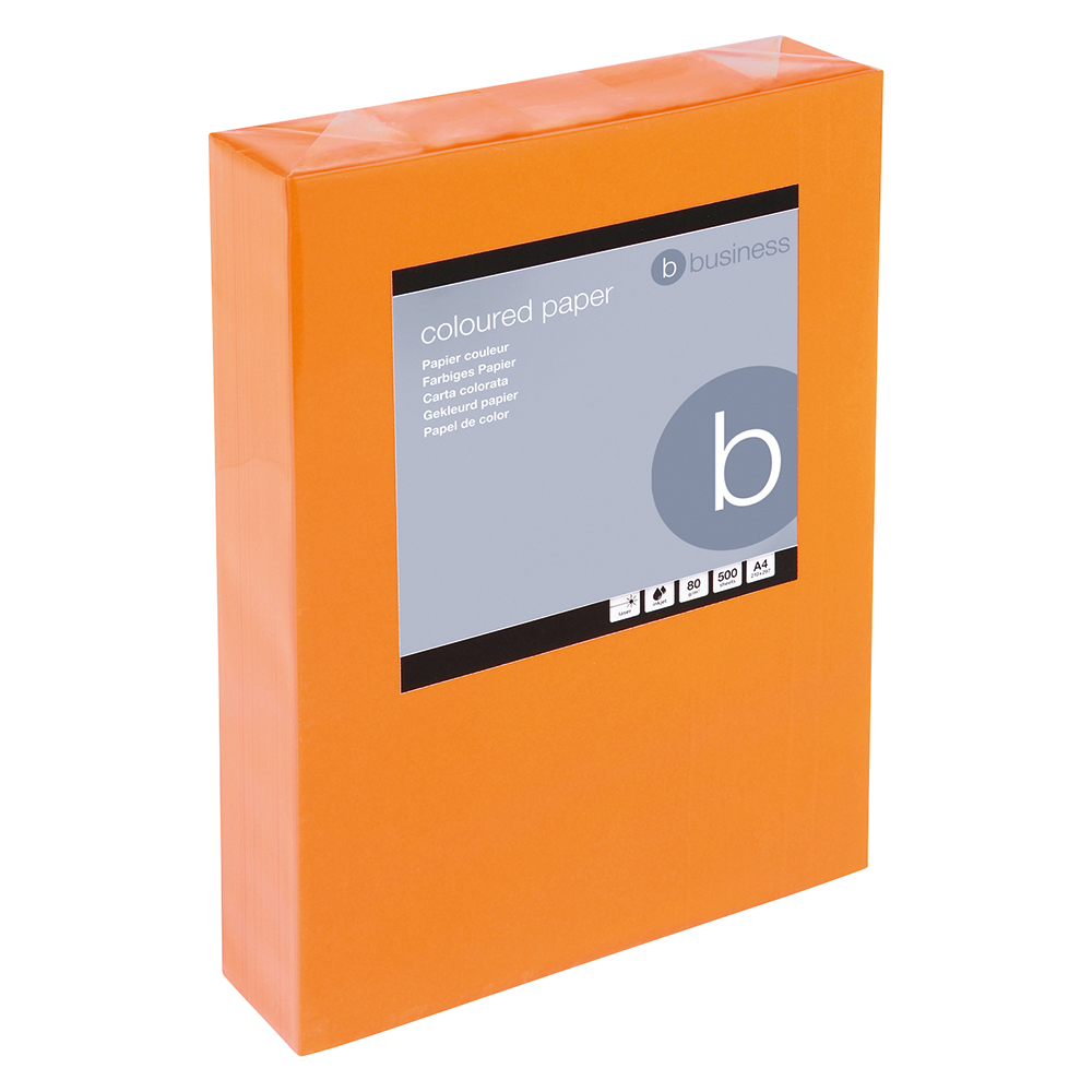Business Coloured Copier Paper Multifunctional Ream-Wrapped 80gsm A4 Deep Orange [500 Sheets]