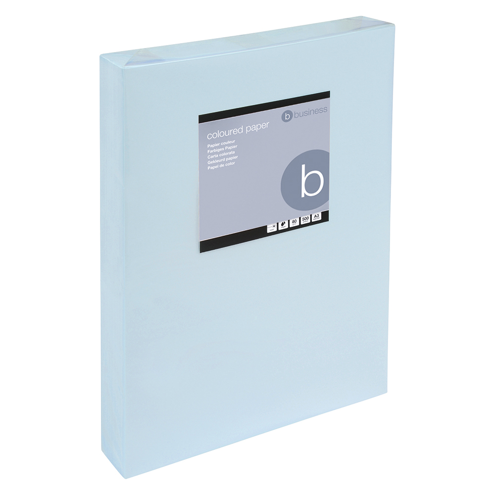 Business Coloured Copier Paper Multifunctional Ream-Wrapped 80gsm A3 Light Blue [500 Sheets]