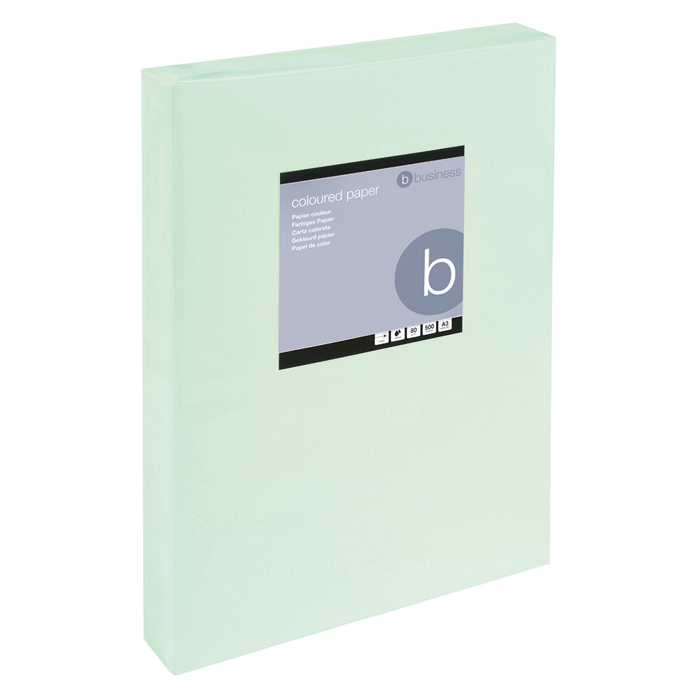 Business Coloured Copier Paper Multifunctional Ream-Wrapped 80gsm A3 Light Green [500 Sheets]