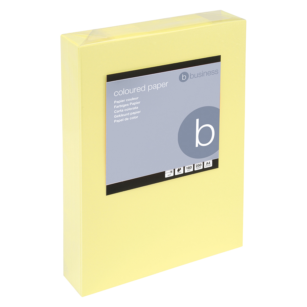Business Coloured Card Multifunctional 160gsm A4 Light Yellow [250 Sheets]