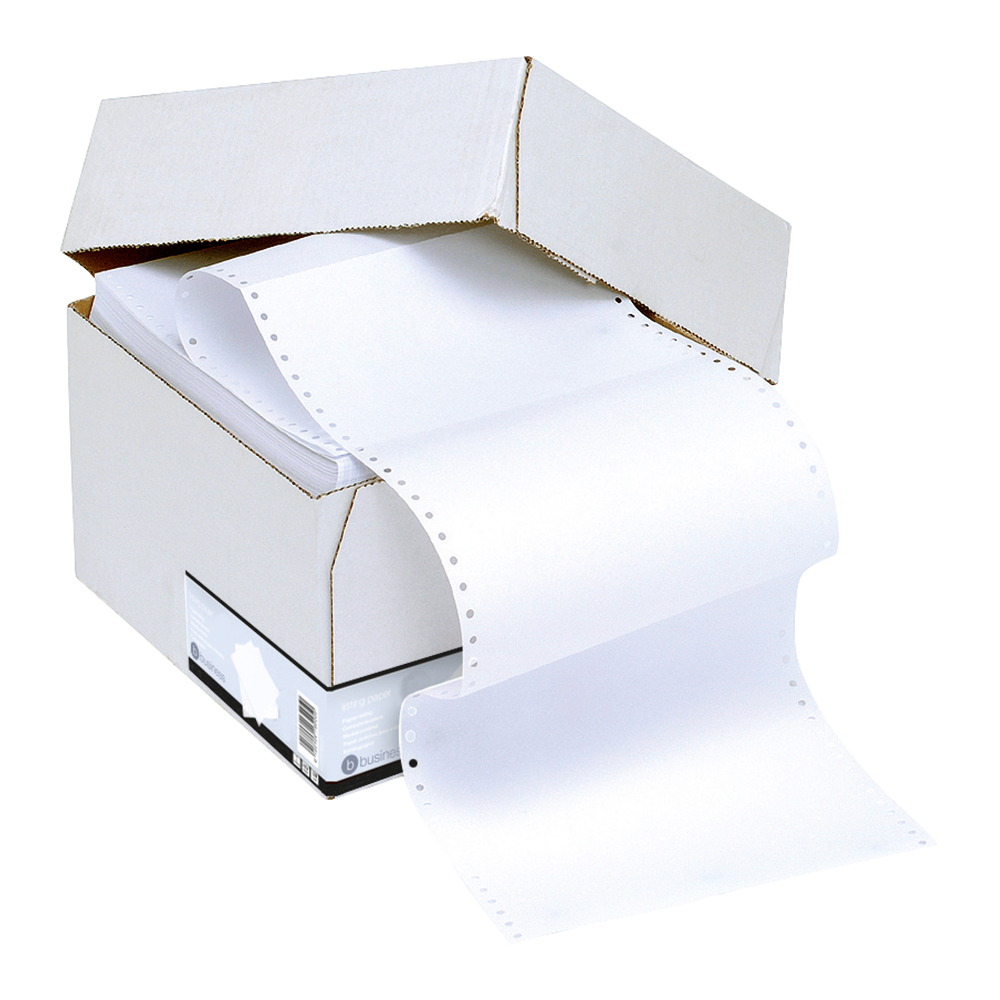 Business Listing Paper 1-Part Microperforated 70gsm 12inchx235mm Plain [2000 Sheets]
