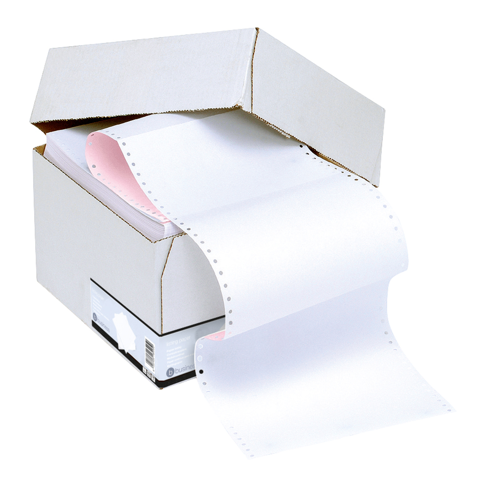 Business Listing Paper 2-Part Carbonless Perf 56/57gsm 11inchx241mm Plain White/Pink [1000 Sheets]