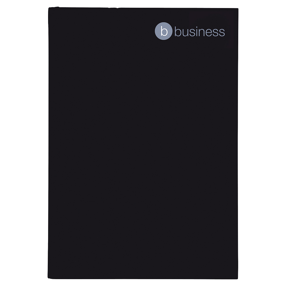 Business Notebook Casebound Hard Cover Ruled 80gsm A4 Black [Pack 5]