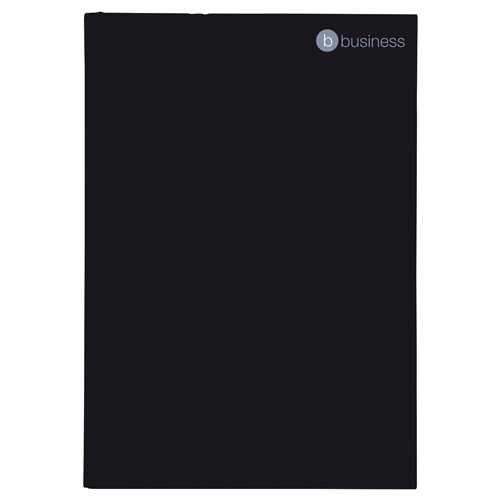 Business Notebook Casebound Hard Cover Ruled 80gsm A5 Black [Pack 5]