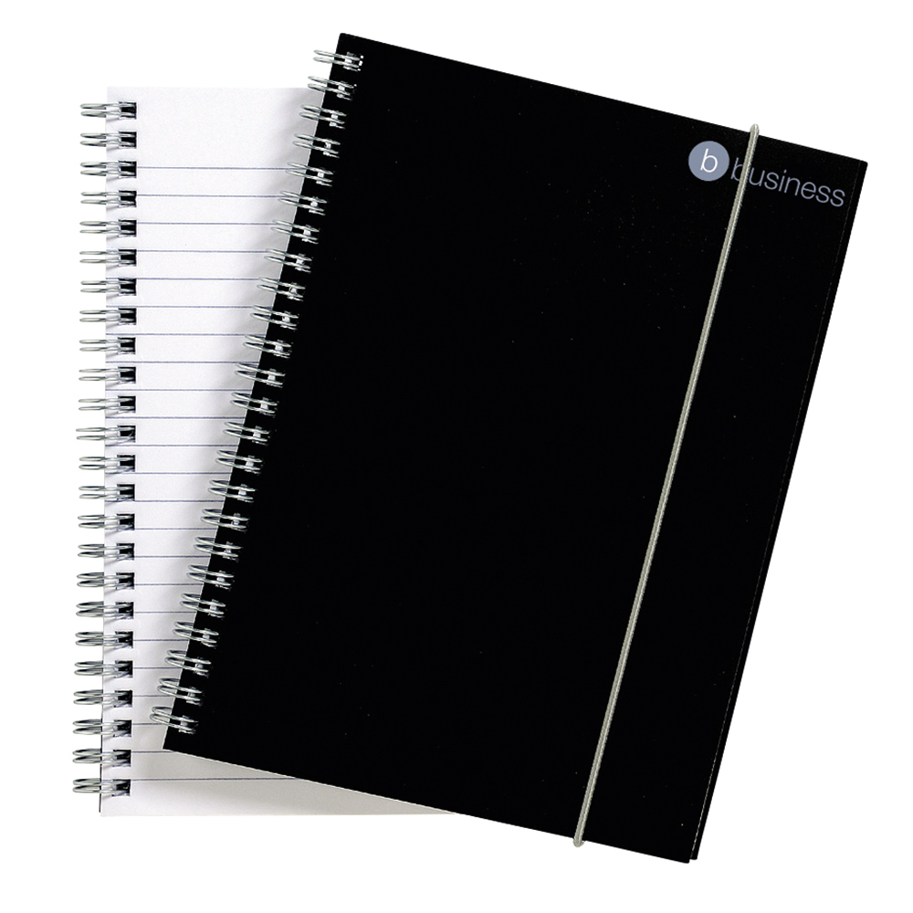 Business Notebook Wirebound Polypropylene Elasticated 80gsm A5 Black [Pack 6]