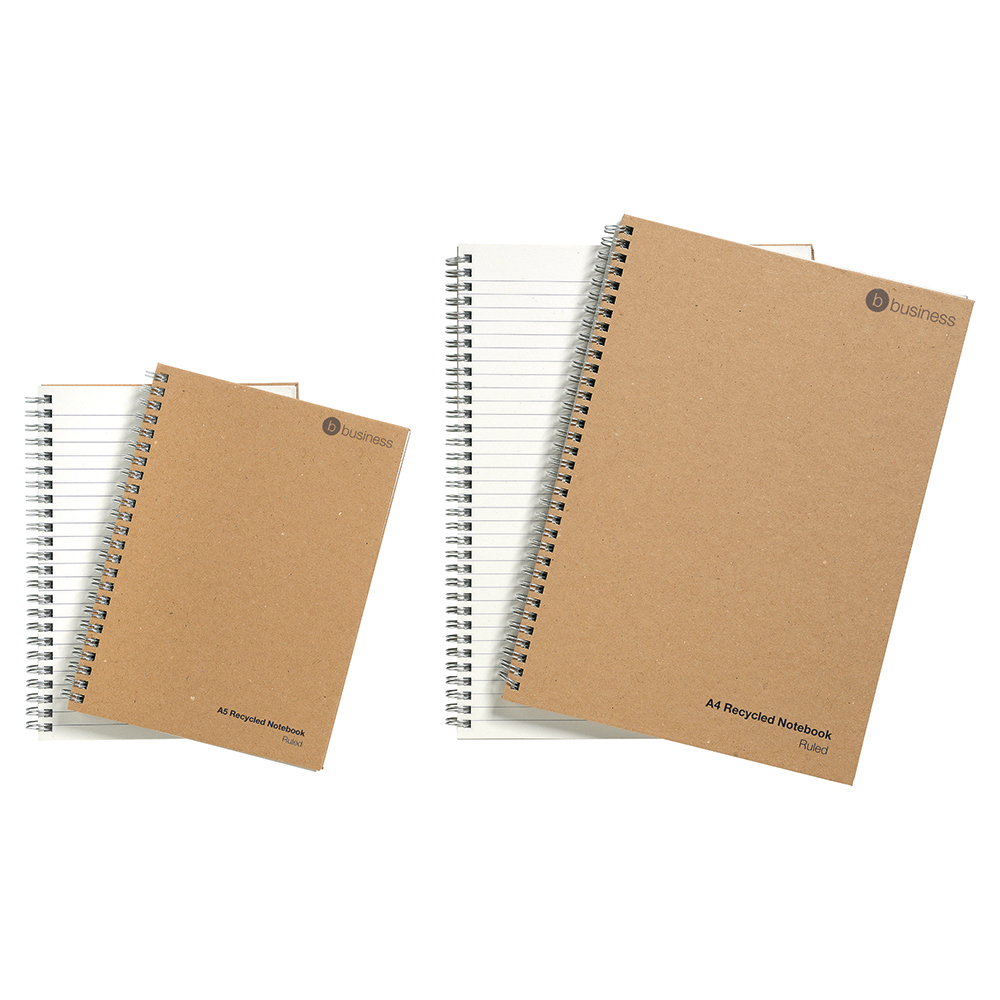 Business Eco Notebook Wirebound Hard Cover Recycled 80gsm A4 Manilla [Pack 5]