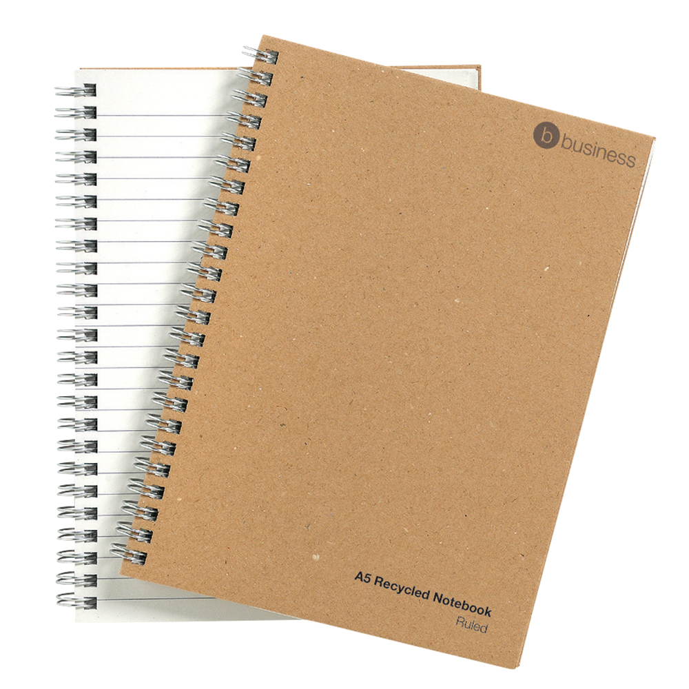 Business Eco Notebook Wirebound Hard Cover Recycled 80gsm A5 Manilla [Pack 5]