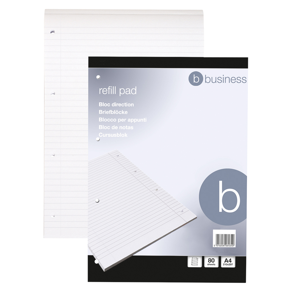 Business Refill Pad Feint Headbound Ruled with Margin 4-Hole Punched 80 Sheets A4 [Pack 10]