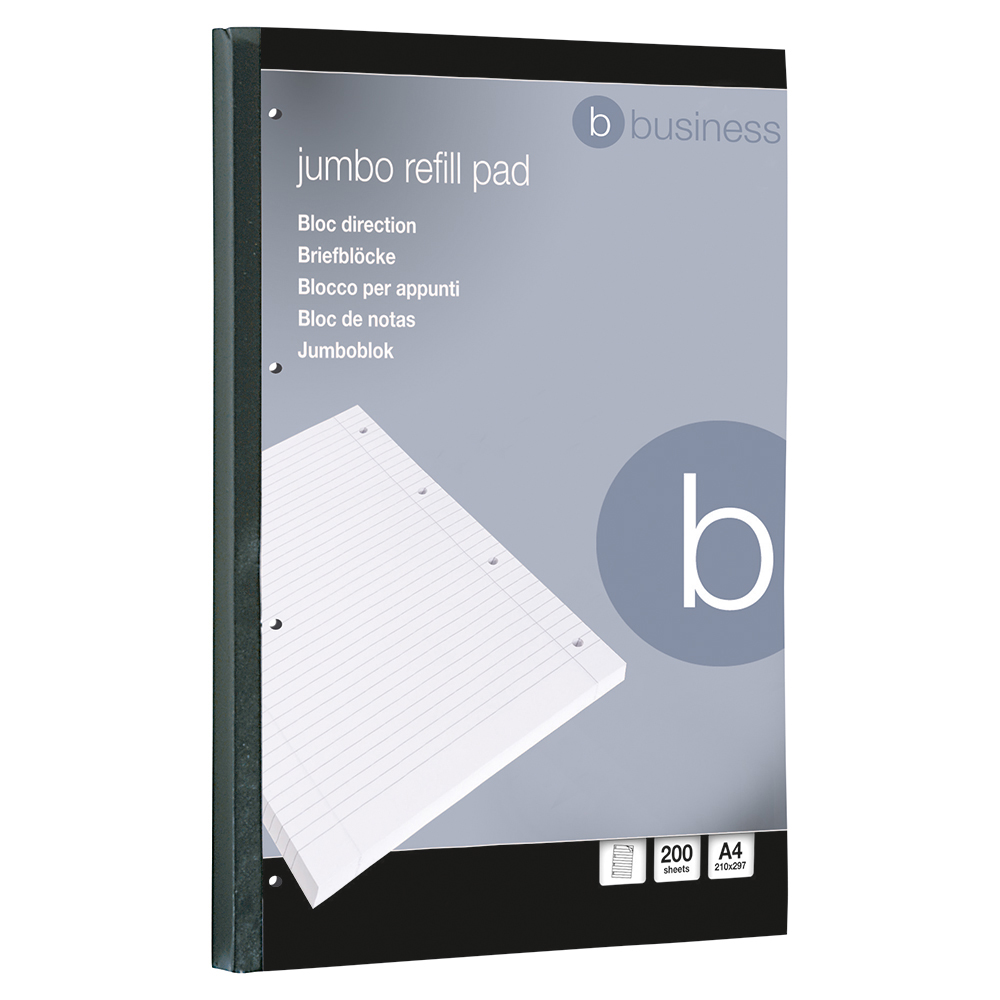 Business Jumbo Pad Feint Sidebound Ruled with Margin 60gsm 4-Hole Punched 200 Sheets A4 [Pack 4]