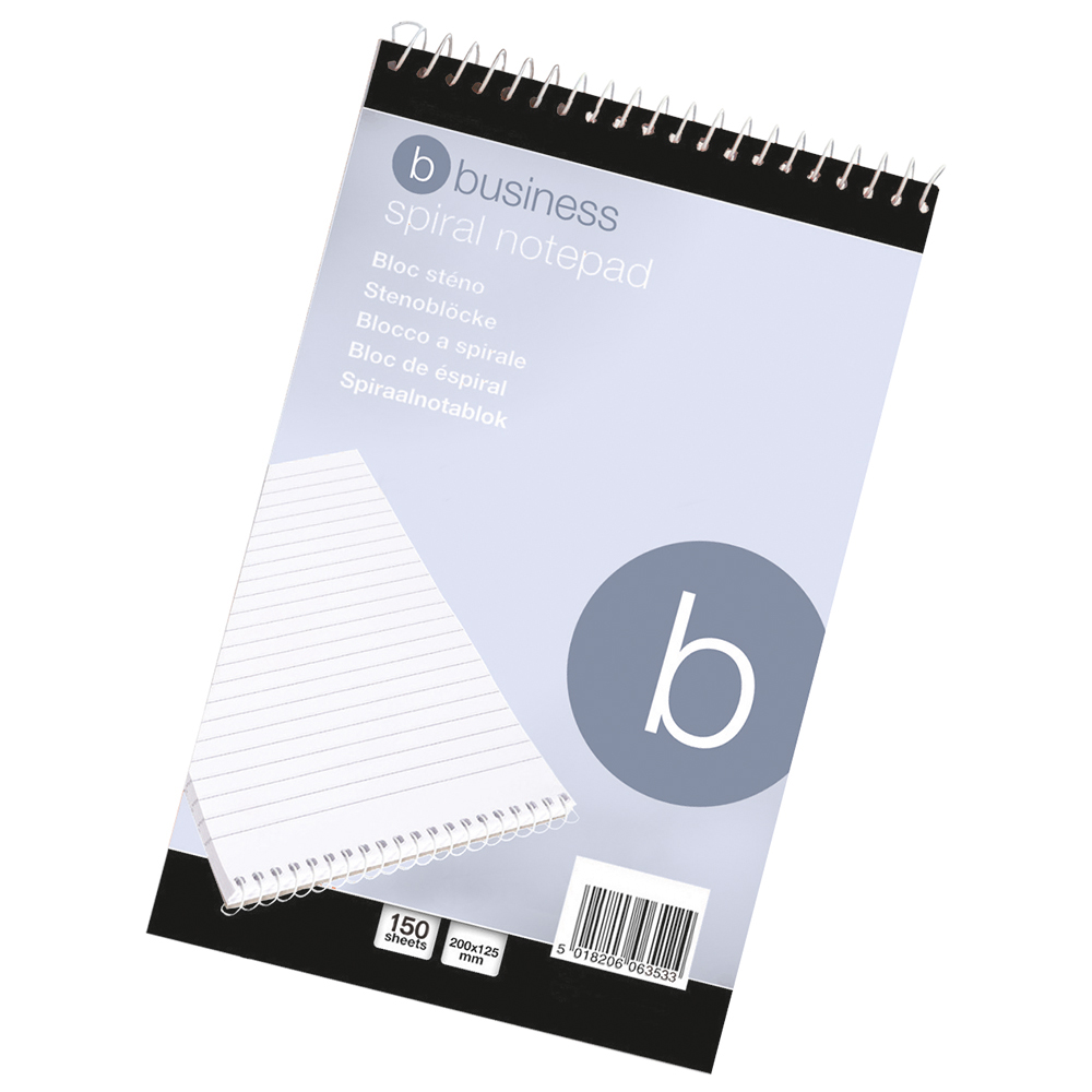Business Spiral Notepad Headbound Ruled 300 Pages 127x200mm [Pack 10]