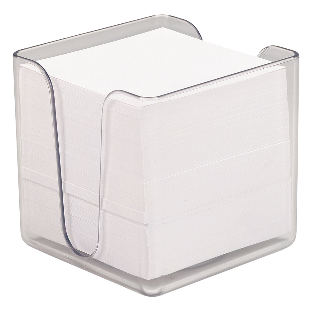 Business Noteholder Cube Transparent with Approx. 750 Sheets of Paper 90x90mm White