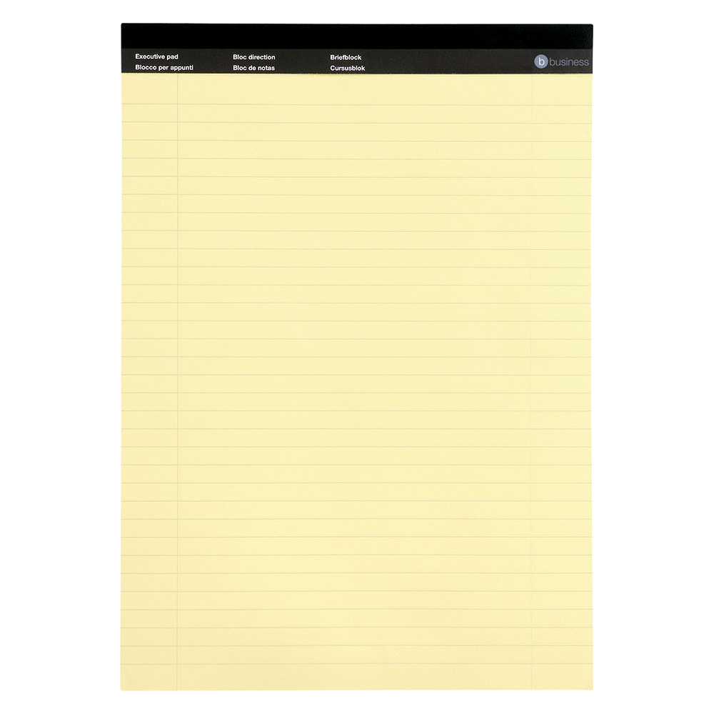Image for Business Executive Pad Perforated Top Feint Ruled Blue Margin Red 50 Yellow Sheets A4 [Pack 10]