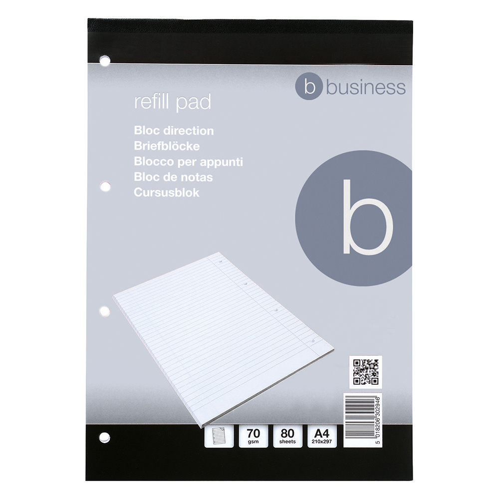 Business Refill Pad FSC Feint Headbound Ruled with Margin 4-Hole Punched 80 Sheet A4 [Pack 10]