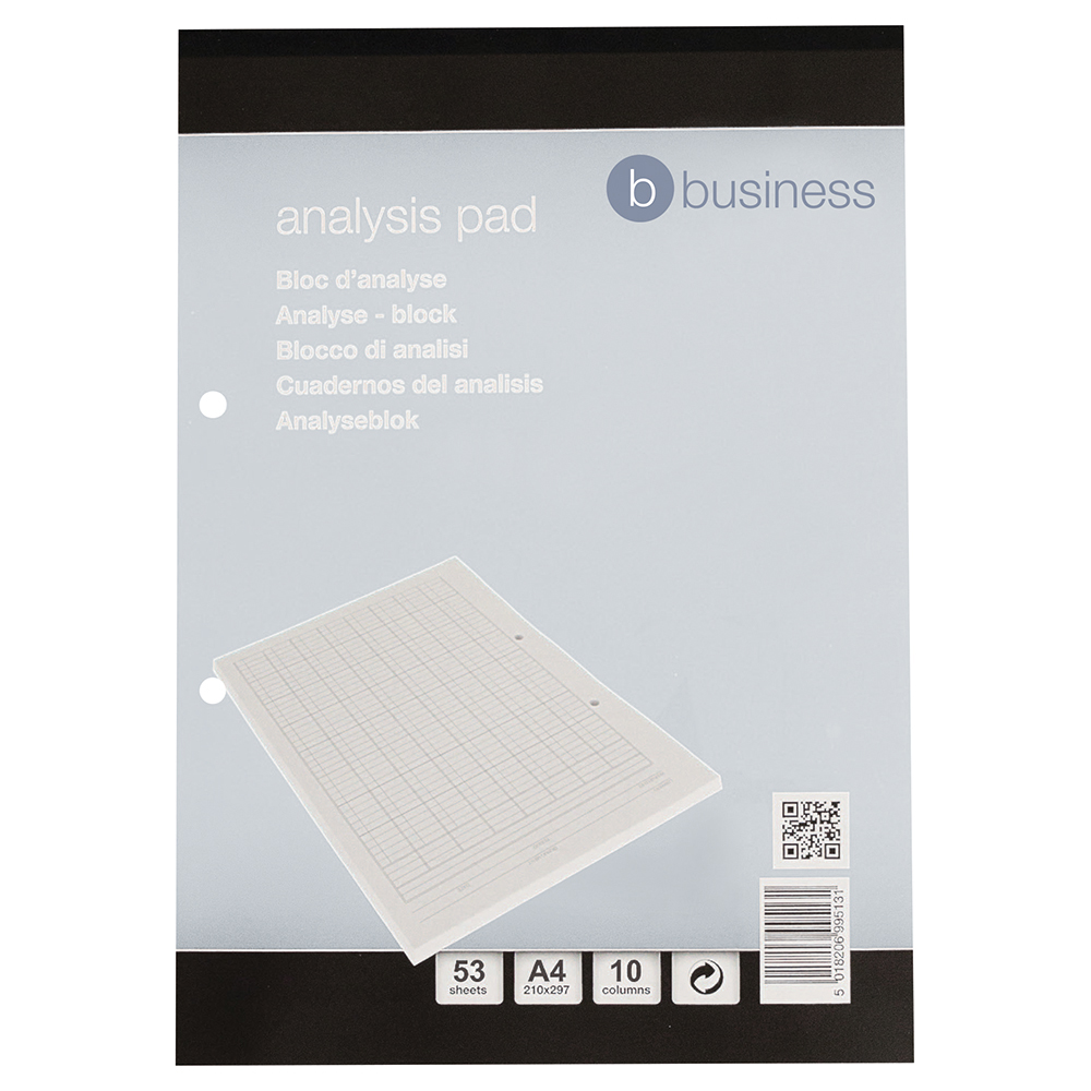 Business Analysis Pad Accounting 10 Column 53 Weeks A4 White