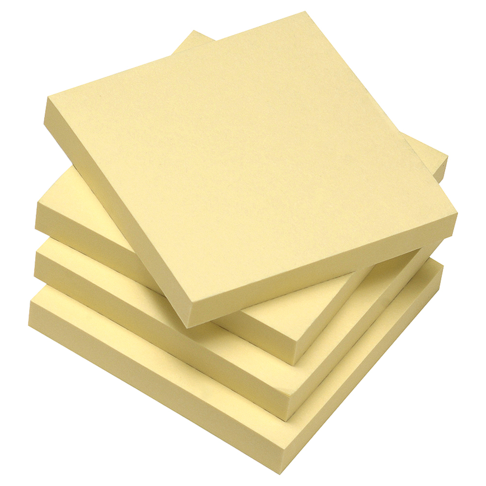Image for Business Eco Re-Move Recycled Notes Repositionable Pad of 100 Sheets 76x76mm Yellow [Pack 12]