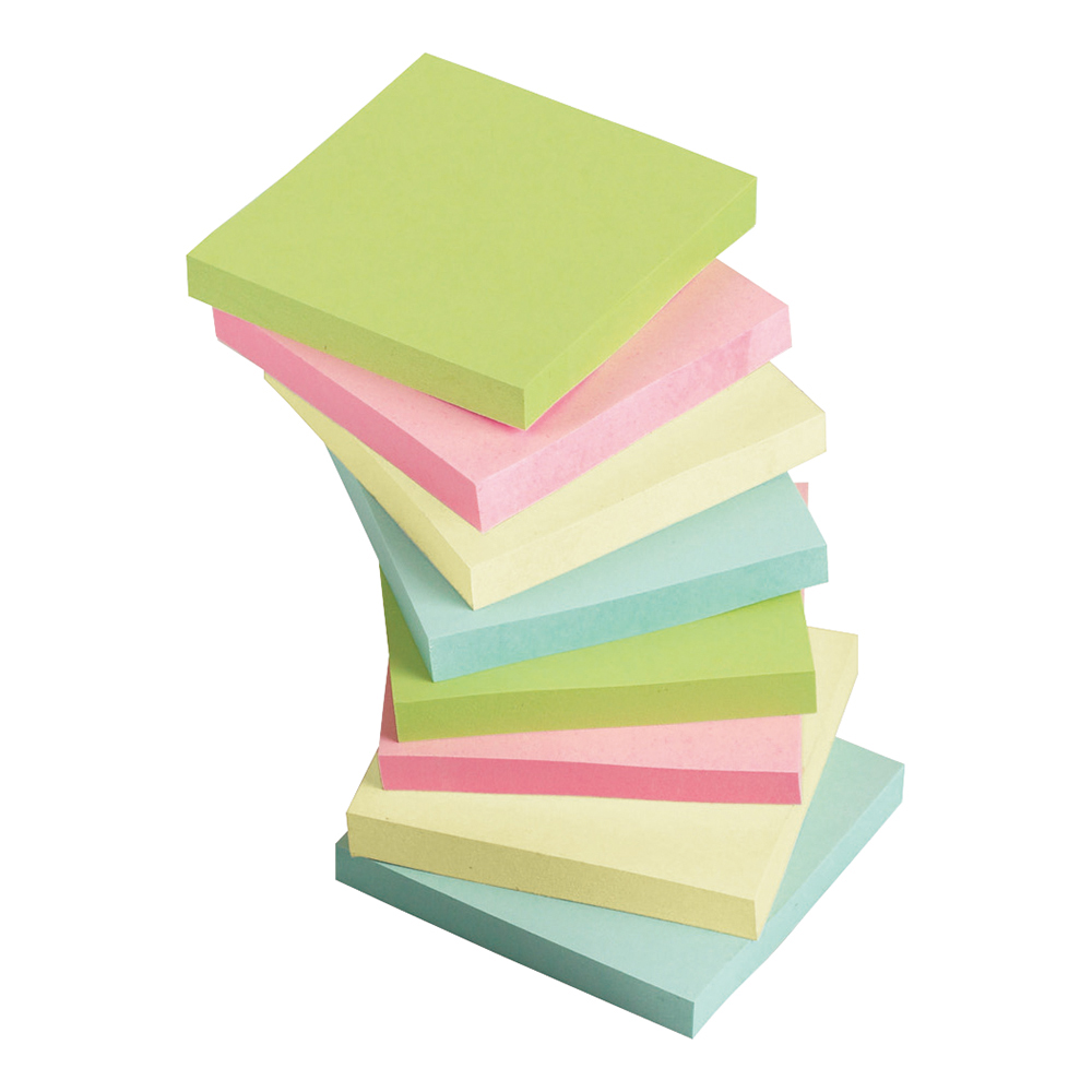 Business Re-Move Notes Repositionable Pastel Pad of 100 Sheets 76x76mm Assorted [Pack 12]