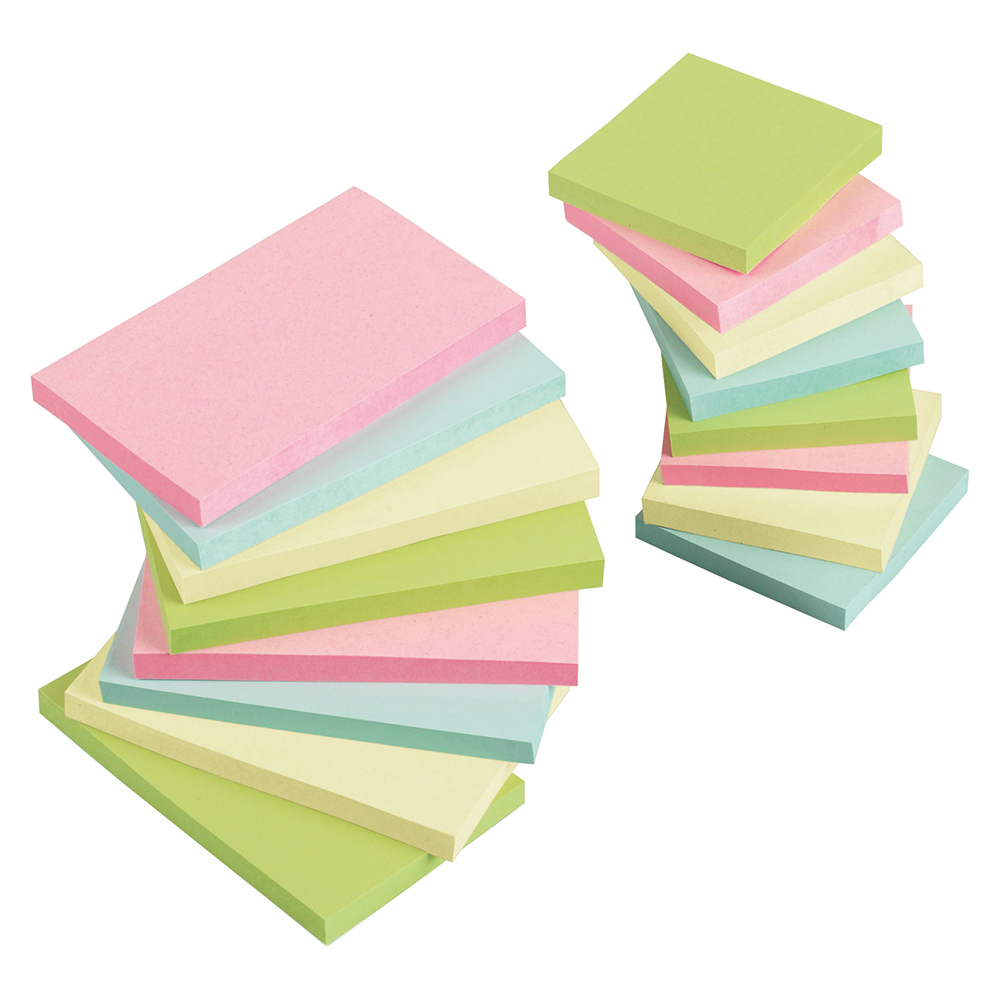 Business Re-Move Notes Repositionable Pastel Pad of 100 Sheets 76x127mm Assorted [Pack 12]