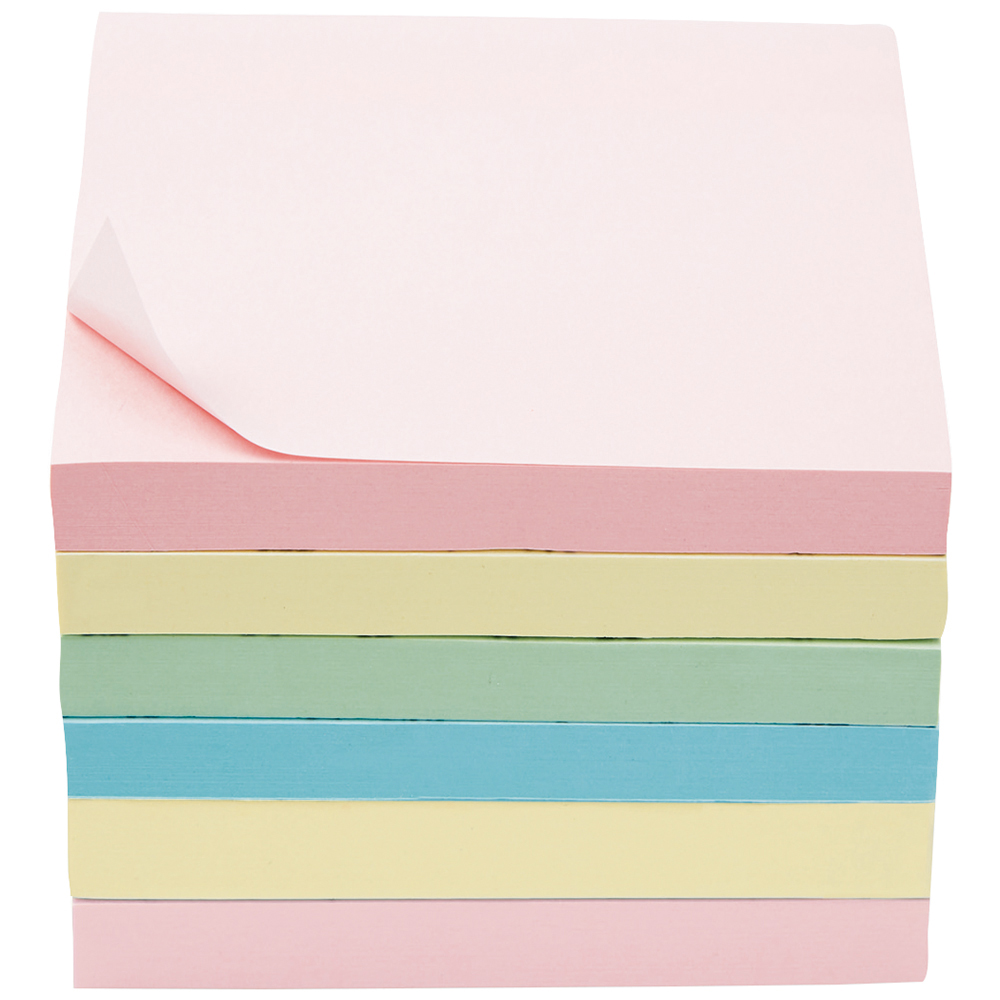 Business Extra Sticky Re-Move Notes Pad of 90 Sheets 76x76mm 4 Assorted Pastel Colours [Pack 6]