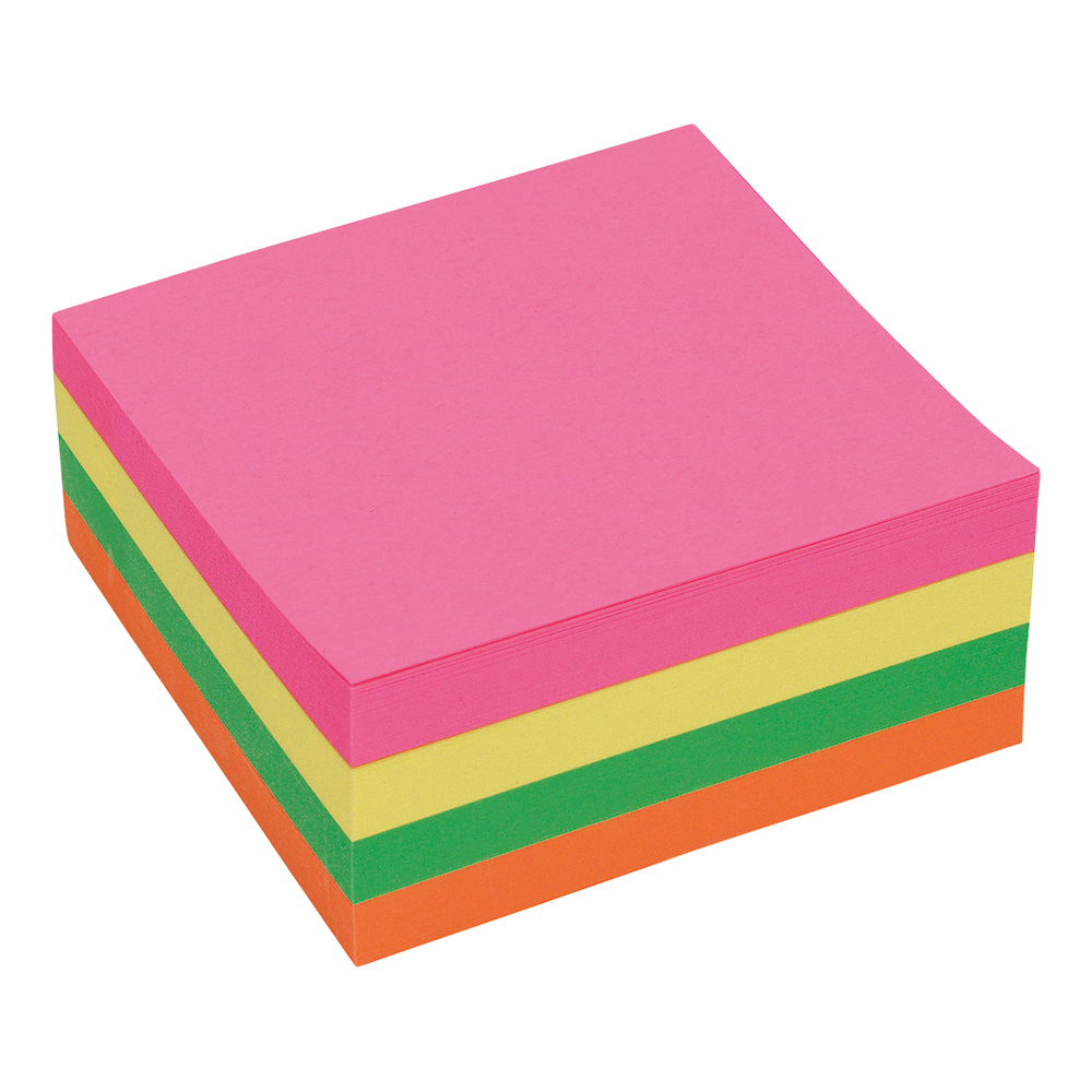 Business Re-Move Notes Cube Pad of 400 Sheets 76x76mm Neon Rainbow